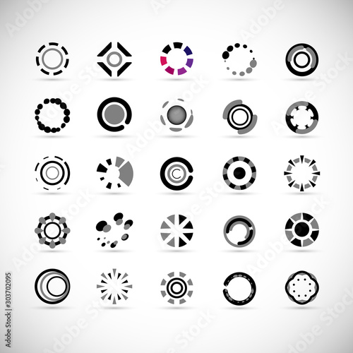 Obraz Abstract Circle Icon Set. Vector Isolated On Gray. Abstract Circle For Company Symbol, Dot Logo, Technology Icon And Element Design.Creative Circle Icons For Dot And Tech Logo. Abstract Round Template - fototapety do salonu