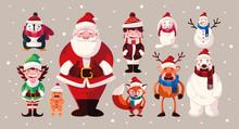 Set Of Icons Christmas With Sa...