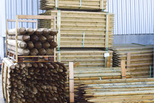 Wooden Stakes. Building Materials In Stock.
