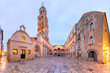 canvas print picture - Panoramic view of Saint Domnius Cathedral in Diocletian Palace in Old Town of Split, the second largest city of Croatia in the morning