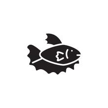 Flat Line Fish Icon. Logo Elem...
