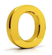 O Letter 3d Render. Golden Let...