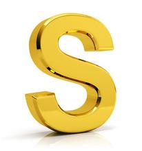 S Letter 3d Render. Golden Letter S Isolated On White Background.