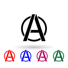 A Sign Of Anarchy Multi Color Icon. Simple Glyph, Flat Vector Of Communism Capitalism Icons For Ui And Ux, Website Or Mobile Application