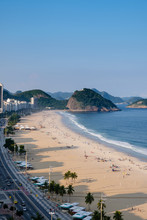 View Of Copacabana And Leme Beach During Late Afternoon, Taken From The Rooftop Of A Hotel, Some Shadows Can Be Seen On The Beach. Rio De Janeiro, Brazil