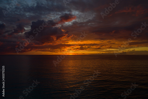 Aerial view of an evening sky after the sunset at Grand Turk in Caribbean