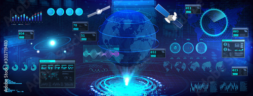 Earth globe in HUD, UI, GUI style. Futuristic world map hologram with interface. Сontrol center dashboard. 3D earth globe, sky-fi elements. Vector illustration Earth globe, HUD. Military interface