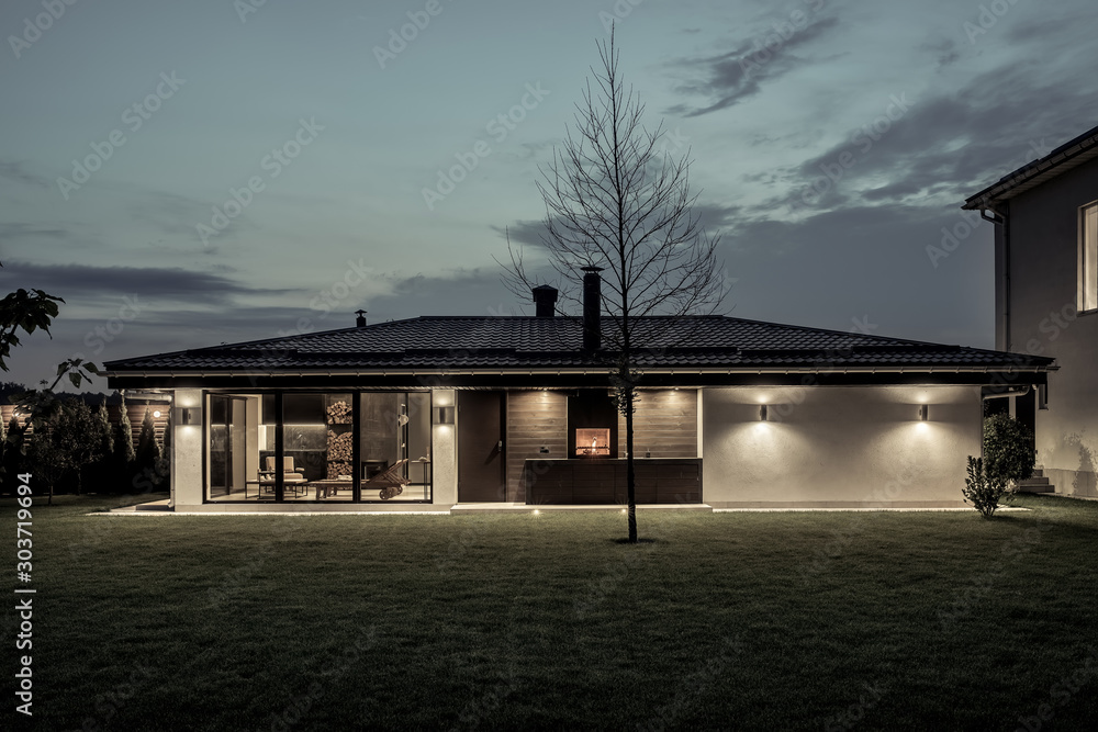 Fototapety, obrazy: Modern estate with house and spa building