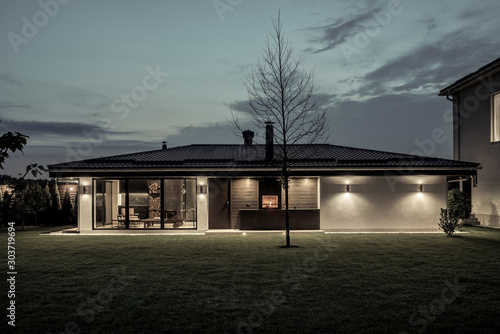 Obraz Modern estate with house and spa building - fototapety do salonu