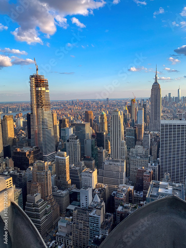 NYC skyline from top in evening Wallpaper Mural