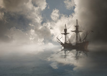 Galleon Sailing In Ocean, USA