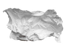 Crumpled Paper Ball Isolated On White Background. Crumpled Paper Texture. White Crumpled Paper Texture For Background.