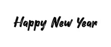 Happy New Year Calligraphic Text For Greeting Card. Vector Holiday Design.