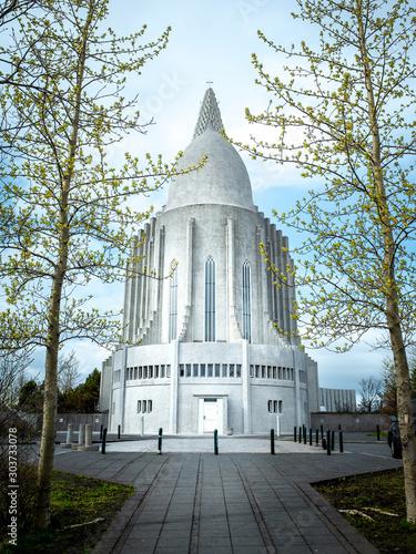 Fototapeta  Hallgrímskirkja, church of Hallgrímur is a Lutheran (Church of Iceland) parish cathedral in Reykjavík, Iceland