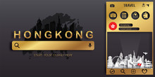 Hong Kong Travel Postcard, Poster, Tour Advertising Of World Famous Landmarks In Paper Cut Style. Vectors Illustrations