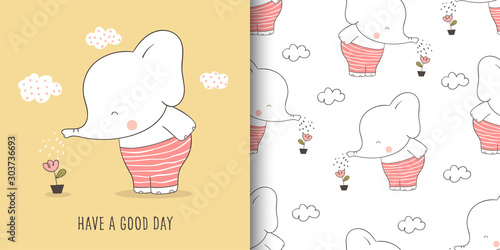 Greeting card and print pattern elephant for fabric textiles kids Canvas Print