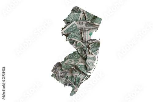 Photo  New Jersey State Map Outline with Crumpled Dollars, Government Waste of Money Co