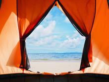 Opening Door Of Orange Tent Ca...