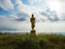 Back View Of Golden Great Buddha Statue On The Top Of Mountain