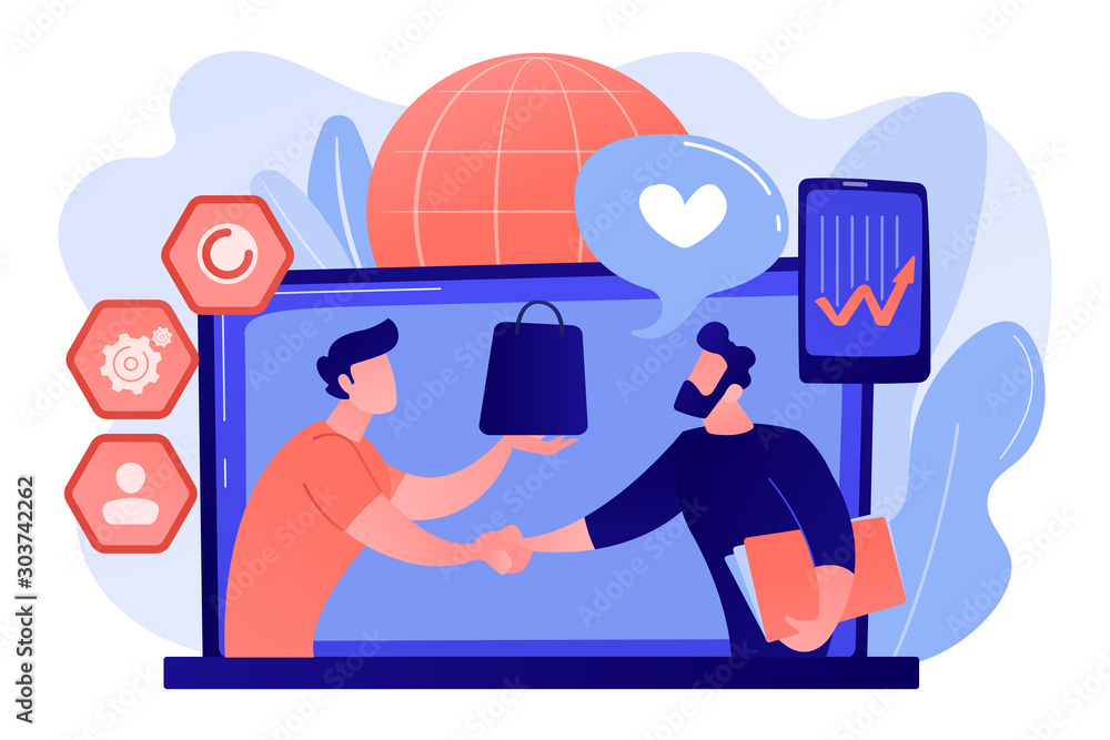Fototapeta Manager shakes hands with customer, strategy for interactions with client. Customer relationship management, CRM system, CRM lead management concept. Pink coral blue vector isolated illustration