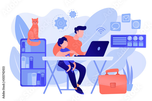 Freelancer with child working on laptop. Parent working with son. Home office. Remote worker, employee schedule, flexible schedule concept. Pink coral blue vector isolated illustration