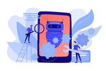 Developers With Wrench Work On Chatbot Application Development. Chatbot App Development, Bot Development Framework, Chatbot Programming Concept. Pinkish Coral Bluevector Isolated Illustration