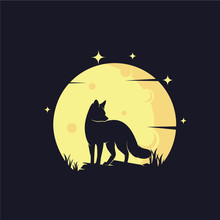Fox With Yellow Moon Background Logo Template