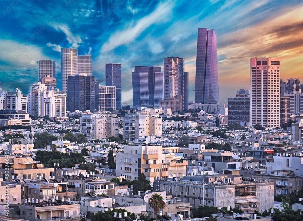 Fototapety, obrazy: Amazing Cityscape with Epic Sky in Tel Aviv, Israel