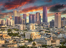 Amazing Cityscape With Epic Sky In Tel Aviv, Israel