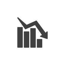 Declining Graph Vector Icon. B...