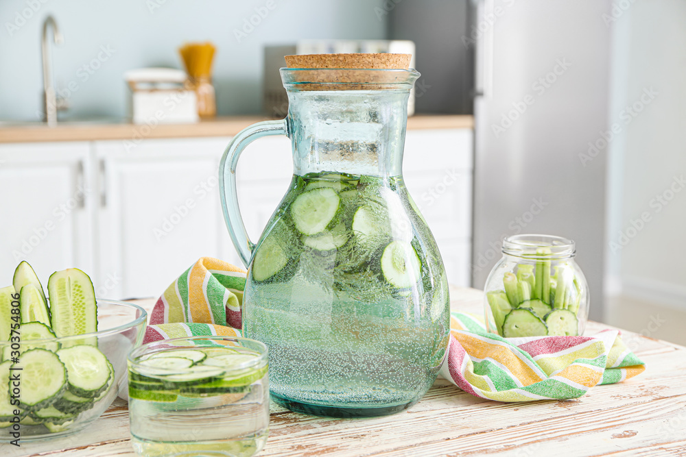 Fototapety, obrazy: Healthy infused water on table in kitchen