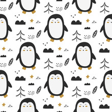 Penguins And Trees Hand Drawn ...