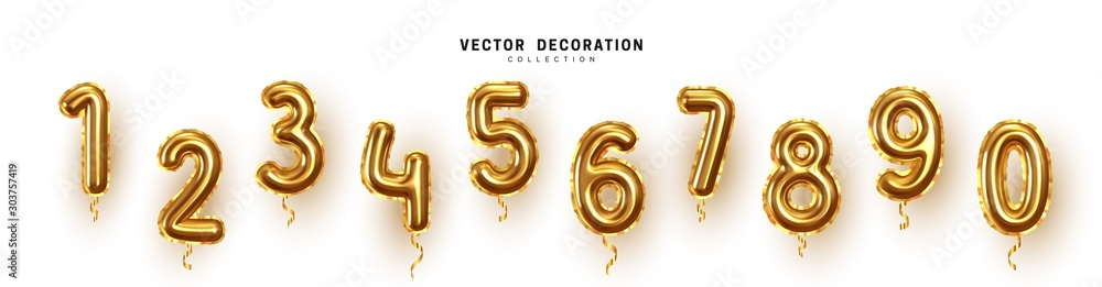 Fototapeta Golden Number Balloons 0 to 9. Foil and latex balloons. Helium ballons. Party, birthday, celebrate anniversary and wedding. Realistic design elements. Festive set isolated. vector illustration