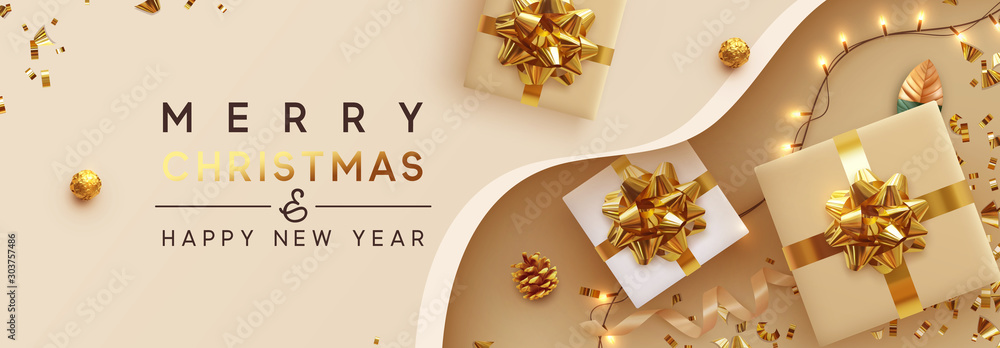 Fototapeta Christmas banner. Background Xmas design of sparkling lights garland, with realistic gifts box, glitter gold confetti. Horizontal New Year poster, greeting card, header, website. Design Flat top view