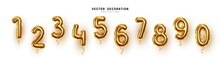 Golden Number Balloons 0 To 9....