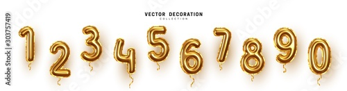 Obraz Golden Number Balloons 0 to 9. Foil and latex balloons. Helium ballons. Party, birthday, celebrate anniversary and wedding. Realistic design elements. Festive set isolated. vector illustration - fototapety do salonu