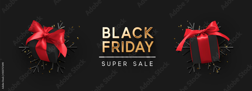 Fototapety, obrazy: Black Friday Super Sale. Realistic black gifts boxes. 3d snowflakes with glitter gold confetti, gift box with red bow. Dark background golden text lettering. Horizontal banner, poster, header website.