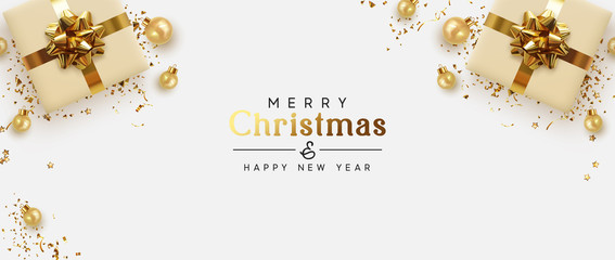 Holiday banner Merry Christmas and Happy New Year. Xmas design with realistic objects, beige gift box, golden balls, stast tinsel, glitter gold confetti. Festive horizontal poster, flat top view