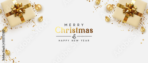 Obraz Holiday banner Merry Christmas and Happy New Year. Xmas design with realistic objects, beige gift box, golden balls, stast tinsel, glitter gold confetti. Festive horizontal poster, flat top view - fototapety do salonu