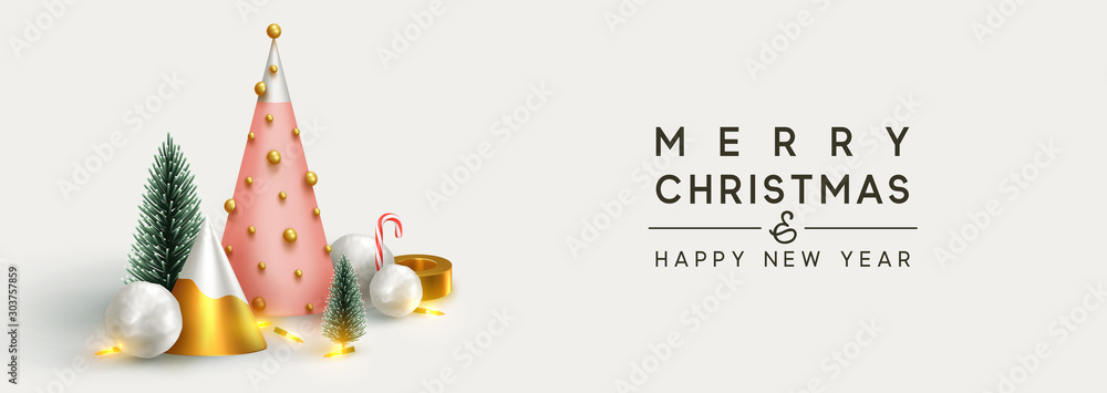 Fototapety, obrazy: Christmas banner 3D render illustrations. Composition metallic pine, green spruce trees. round spheres of snowballs. New Year cone shape trees. Horizontal Xmas poster, greeting cards, header, website.