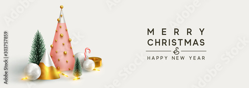 Fotobehang Dinosaurs Christmas banner 3D render illustrations. Composition metallic pine, green spruce trees. round spheres of snowballs. New Year cone shape trees. Horizontal Xmas poster, greeting cards, header, website.