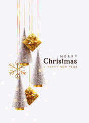 FototapetaMerry Christmas and Happy New Year. Background with realistic festive gifts box. Christmas lush tree silver color. Xmas present. Golden baubles, balls, glitter gold confetti. metallic bronze snowflake
