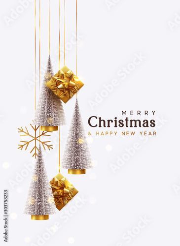 Merry Christmas and Happy New Year. Background with realistic festive gifts box. Christmas lush tree silver color. Xmas present. Golden baubles, balls, glitter gold confetti. metallic bronze snowflake - 303758233