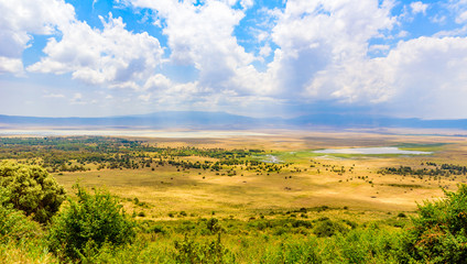 Panorama of Ngorongoro crater National Park with the Lake Magadi. Safari Tours in Savannah of Africa. Beautiful landscape scenery in Tanzania, Africa