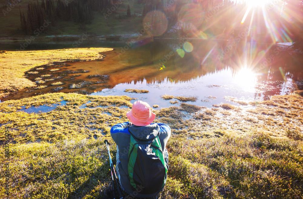 Fototapety, obrazy: Relaxing on mountain lake