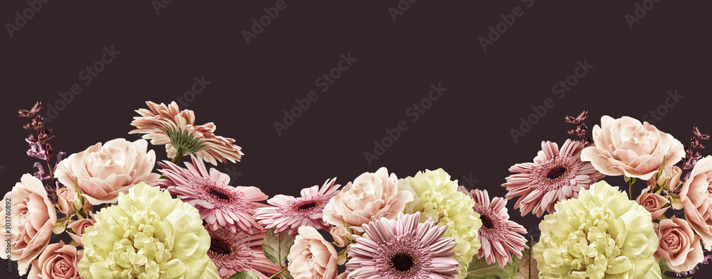 Fototapety, obrazy: Floral banner, cover or header with vintage bouquets. Yellow peony, gerbera, pink roses isolated on dark background.