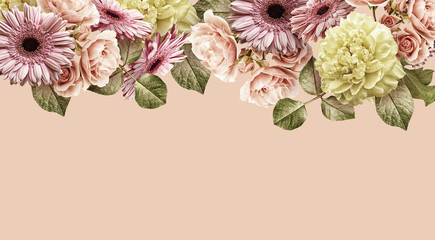 Naklejka Kwiaty Floral banner, cover or header with vintage bouquets. Yellow peony, gerbera, pink roses isolated on pink background.