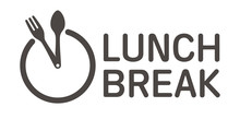 Vector Logo Clock Cutlery With Text Lunch Break. Isolated On White Background.