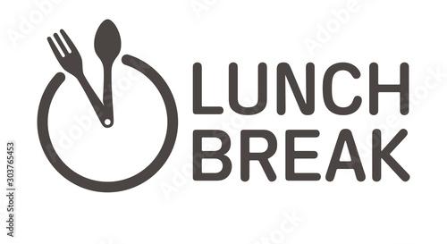 Vector logo clock cutlery with text Lunch break Wallpaper Mural