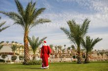 Back View Of Santa Claus Walki...